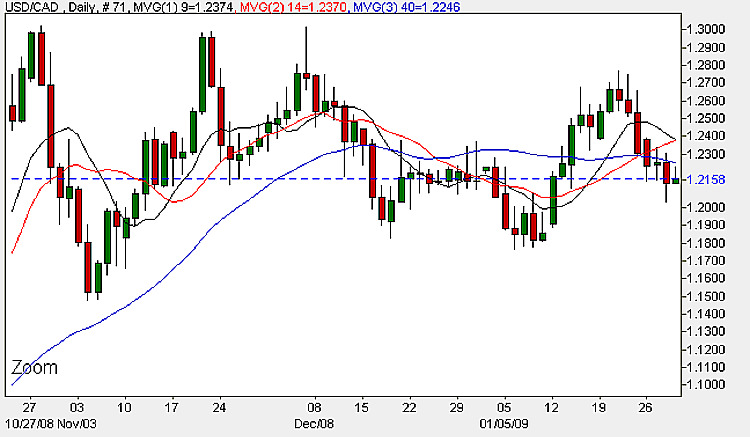 USD to CAD Candle Chart - Daily Prices January 29th 2009