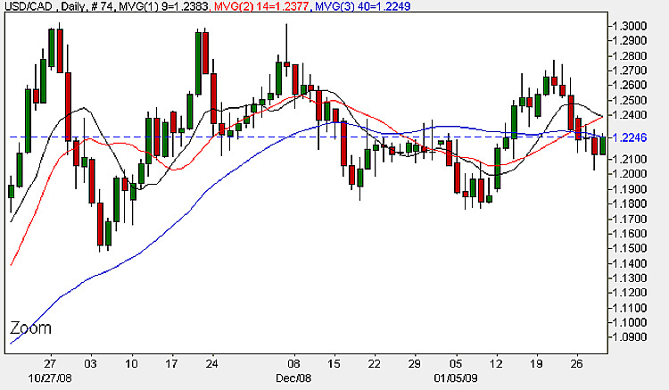 USD to CAD Candle Chart - January 30th 2009