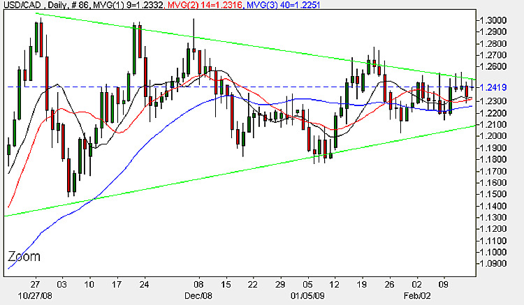 USD to CAD - Daily Candle Chart 16th February 2009