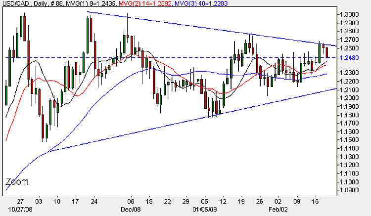 USD to CAD - Daily Candle Chart 19th February 2009