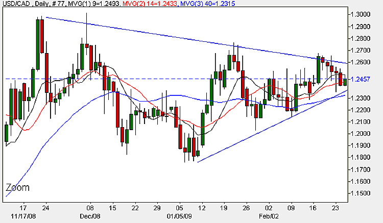 USD to CAD - 25th February 2009 Daily Candle Chart