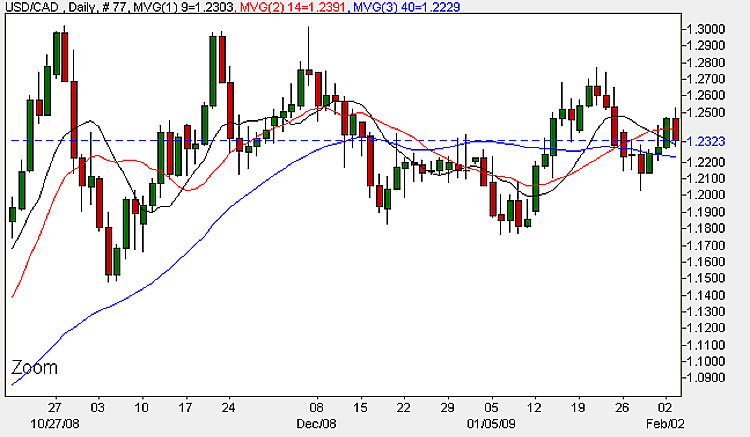 US Dollar Canadian Dollar (USD/CAD) - Daily Candle Chart 4th February 2009
