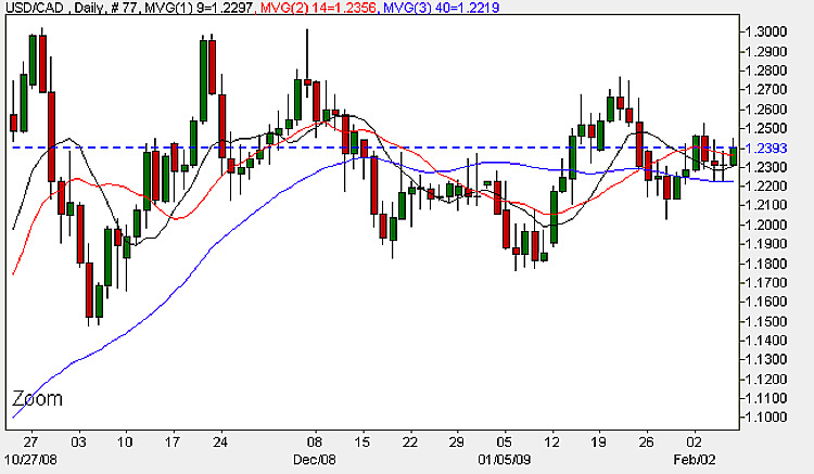 USD to CAD - Daily Candle Chart 6th February 2009