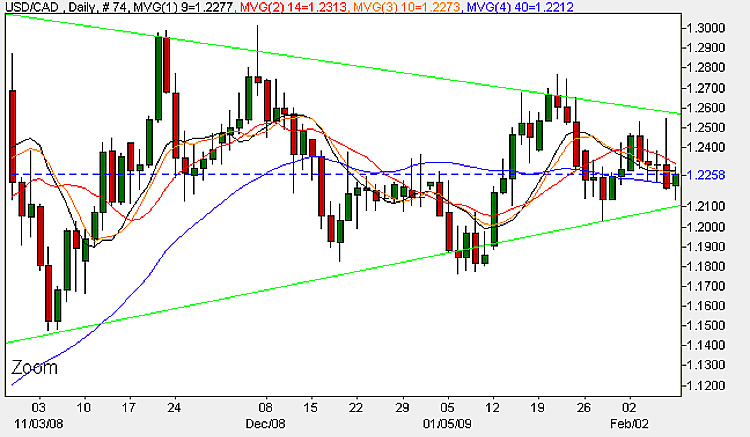 USD to CAD Daily Candle Chart - 9th February 2009