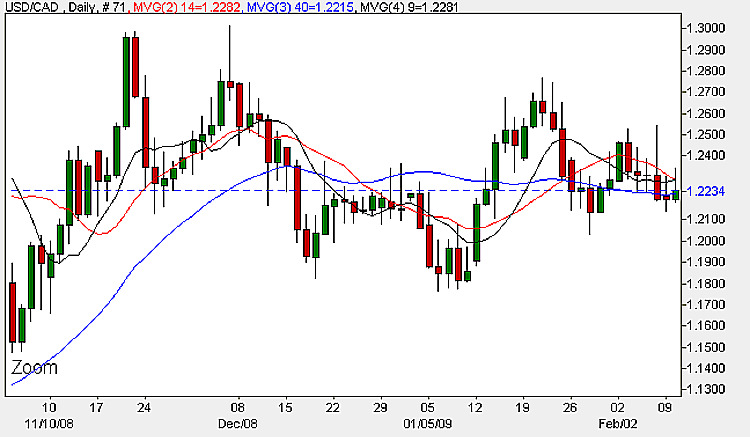USD to CAD Daily Candle Chart - February 10th 2009
